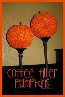 These are made with coffee filters but I am going to try and make them with just orange tissue paper (no wiffle ball).