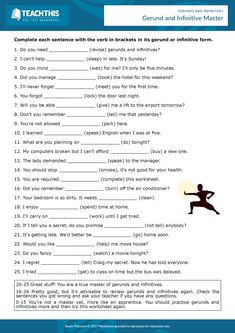 ESL Gerunds and Infinitives Worksheet - Writing Activity - Intermediate - 20 minutes Here is a useful worksheet to test students' knowledge of gerunds and infinitives with 'to'. English Grammar Exercises, Teaching English Grammar, English Worksheets For Kids, English Writing Skills, English Reading, Grammar Lessons, English Language Learning, English Vocabulary, Writing Lessons