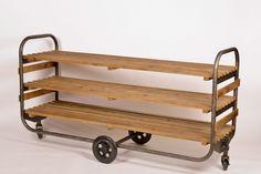 Grand Chariot Buffet avec 3 Etagères au style Industriel, Design Loft