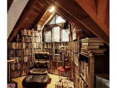 cozy library in the attic