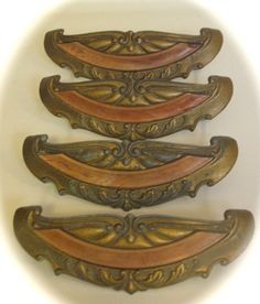 Vintage Drawer Pulls Art Deco Waterfall Bakelite 1940s