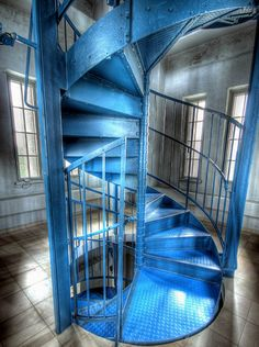 Blue Metallic Staircase