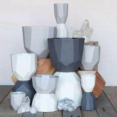 Quartz Faceted Ceramic Bowls - HomArt