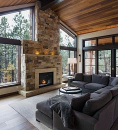 60 Favourite Log Cabin Homes Fireplace Design Ideas - Home/Decor/Diy/Design Home Fireplace, Fireplace Design, Wall Fireplaces, Stone Fireplaces, Fireplace Ideas, Modern Fireplaces, Farmhouse Fireplace, Design Living Room, Living Room Interior