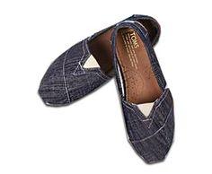 Women's Cheap Toms Shoes Classic in Blue And Grey Denim : toms outlet, your description$17