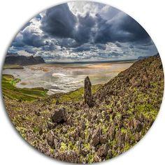 "DesignArt 'Rocky Coastline Iceland Panorama' Photographic Print on Metal Size: 11"" H x 11"" W x 1"" D"