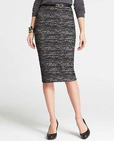 """Tall Tweed Print Pencil Skirt - Tweed twist: we chose a longer silhouette to show off this sensationally stretchy style. Pair it with polished pumps and shamelessly sparkly accessories for an unexpectedly edgy combo. Hidden back zipper with snap closure. 29 1/2"""" from top edge."""