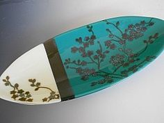 Oval Cherry Blossom Dish by Lisa Becker 7 x 15 : Blue Pomegranate Gal...