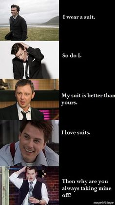 Suits - make a man look good wearing them, make women want to remove them.) <<< Correction: Men and women alike. Lgbt, Doctor Who Funny, Beaux Couples, Captain Jack Harkness, John Barrowman, Fandom Crossover, Torchwood, David Tennant, Dr Who