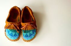Custom, hand-beaded mocs are a wearable work of art.