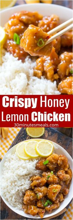 Crispy Honey Lemon Chicken is a restaurant quality meal, made easy at home in just 30 minutes! Crispy, sticky and full of honey lemon flavor. #chicken #dinner #chinese