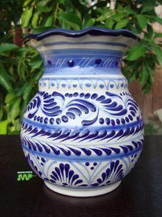 """Authentic Talavera Ceramic Vase 6"""" Fine Mexico Art Pottery  Colonial Blue White"""