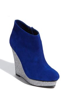 Blue Suede and glitter wedge bootie.   DV by Dolce Vita 'Roja' Bootie (via @Kenny Milano )
