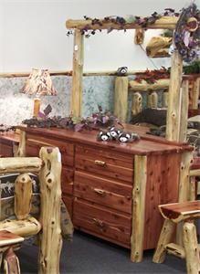 Amish Cedar Log 6 Drawer Dresser