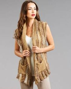 Brown Shawl Collar Knit Rabbit Fur Vest with Belt
