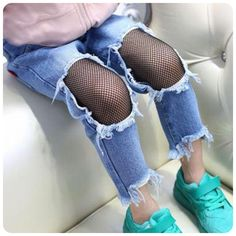 >> Click to Buy <<  Girls Jeans Hole 2017 Summer Girls Jeans Kids Pants Fashion Fishnet Design Children's Denim Trousers Kids Dark Blue Pants #Affiliate