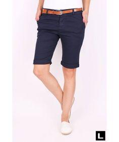 Dámske šortky tmavomodré Bermuda Shorts, Women, Fashion, Moda, Fashion Styles, Fashion Illustrations, Shorts, Woman