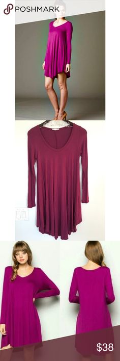 Magenta V Neck Longsleeve Trapeze Boho Dress Magenta V Neck Longsleeve Trapeze Boho Dress. Material: 95% rayon 5% spandex. Made in USA. No Trades. Price is Firm Unless Bundled. GlamVault Dresses