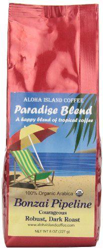 Aloha Island Coffee Bonzai Pipeline Dark Roast Certified Organic Coffee, Whole Bean, 8-ounce Packages (Pack of 2) - http://goodvibeorganics.com/aloha-island-coffee-bonzai-pipeline-dark-roast-certified-organic-coffee-whole-bean-8-ounce-packages-pack-of-2/