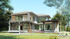 Expansive Double-storey House with Four Bedrooms - Cool House Concepts Two Story House Plans, Two Story Homes, Modern House Floor Plans, Double Storey House, Build Your Own House, Home Goods, Bedrooms, How To Plan, Cool Stuff
