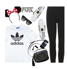 """60 Second Style: Disney"" by hollowpoint-smile ❤ liked on Polyvore featuring Polo Ralph Lauren, adidas Originals, adidas, Gucci, Kat Von D and CÉLINE"