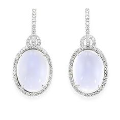 Pair of Moonstone and Diamond Pendant-Earrings   18 kt. white gold, 2 oval cabochon moonstones ap. 27.30 cts., 134 diamonds ap. 1.05 cts., ap. 9.3 dwt