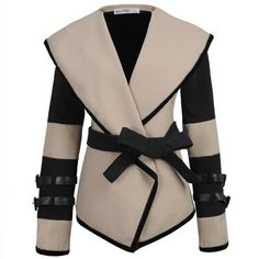 Miusol Womens Turn-down Collar Lapel Belted Jacket Coat
