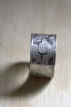 Ga Yixe ring, mixtec meander sterling silver jewelry