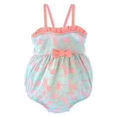 Newborn Girls' Flamingo One Piece Swimsuit - Mint/Pink