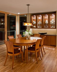 Charles Stinson Architect Laurie Plattes interior design dining room, Thomas Moser table and chairs Eva Zeisel pottery in cabinet Crockery Cabinet, Pantry Shelving, Cabinet Design, Kitchen Organization, Table And Chairs, Mathematics, Blouse Designs, Living Room Designs, Kitchen Decor