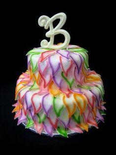 colored leaf wedding cake