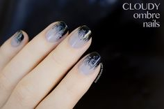 ombre nail art   Cloudy ombre nails - 28 days of SoNailicious Nails – Day 19