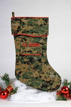 """The Marine Woodland Christmas stocking is beautifully tailored in the Marines woodland """"digital camouflage"""" uniform fabric. It's trimmed in scarlet piping with Marine Gifts, Military Gifts, Marine Mom, Marine Corps, Christmas Projects, Christmas Gifts, Christmas Time, Woodland Christmas, Marines"""