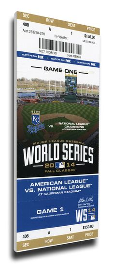 Capture the memory of the Royals first World Series appearance in 29 years with a 2014 World Series Game 1 Canvas Mega Ticket. Officially licensed by MLB®, Mega Tickets® are sports history turned into unique wall art. They are created from actual game tickets, enlarged 300-500%, printed on archival canvas and hand wrapped on wooden stretcher bars. #royals #2014worldseries #29years #royalsbaseball #kcroyals #mlb #megaticket