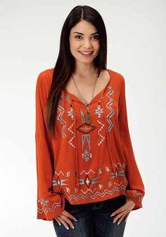 e8c2932eadb2f Roper Women s Rust Embroidered Peasant Blouse