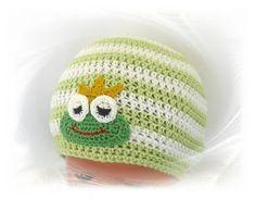 gehäkelte Mütze Froschkönig, Häkelmütze, Kindermütze, Babymütze, Baumwollmütze, frog crochet