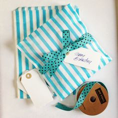 Turquoise stripe paper bags