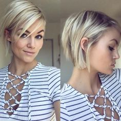 Short hairstyles for fine hair are one of the hairstyles that women often think of, but they don't dare to try them. There are many short and pleasant hairstyles for fine hair. Fine hair is o… Edgy Bob Haircuts, Short Blonde Haircuts, Girl Haircuts, Short Hairstyles For Women, Short Hair Long Bangs, Choppy Bob Hairstyles For Fine Hair, Long Pixie Bob, Oval Shape Face Hairstyles, Haircut Thin Fine Hair