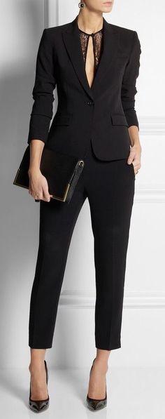 Peak Lapel Black Women Ladies Business Office Tuxedos Work Wear Suits  Bespoke -- Great Look for Professional Wear b398af63f1dd