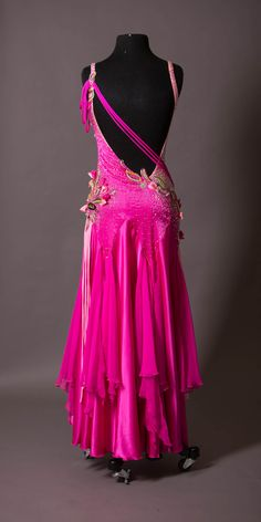 PINK SMOOTH WITH 3D RIBBON ACCENTS AND STRINGS ON ARM AND WAIST WITH CHIFFON FLOUNCED SKIRT – DORÉ DESIGNS