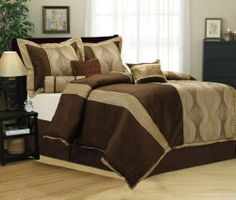 7 Piece QUEEN SAGE BROWN/BEIGE/GOLD Pin Tuck KATH Bed in a Bag Flock Comforter Set by Grand Linen. $69.95. Care: Machine Washable,. Set Includes: 1 Comforter , 2 Shams ,1 Bed Skirt , 3 Accent pillows. Reinvent your bedroom decor with this exotic comforter set, featuring a trendy design.. The Elegant pattern in an array will make a good night's sleep rest even better!. Check out our Amazon Web Store for other matching Curtains and sheets. Comforter sets are designed to keep...