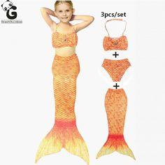 Girls Swimwear Sets Kids Swimming Children Swimsuit Bikini Cosplay Costumes Mermaid Tail Ariel For Girl Teens Beachwear Suits #Affiliate