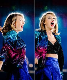 TayTay with blue skirt and purple galaxy jacket for welcome to newyork
