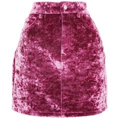 TopShop Moto Bonded Velvet Mini Skirt ($80) ❤ liked on Polyvore featuring skirts, mini skirts, topshop, pink, short mini skirts, pink mini skirt, short purple skirt and short skirts