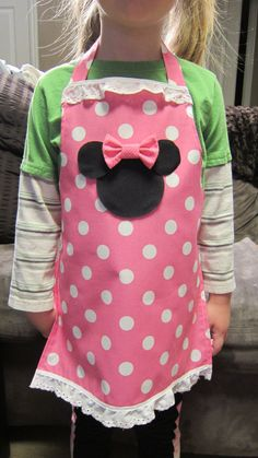 Minnie Mouse Apron Child Size by ButtonOnBowTies on Etsy