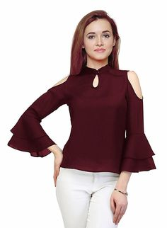 bddc7edd268 indietoga Women's Maroon Moss Crepe Cold Shoulder Bell Sleeves Western wear  top (Plus Size XS to 7XL): Amazon.in: Clothing & Accessories