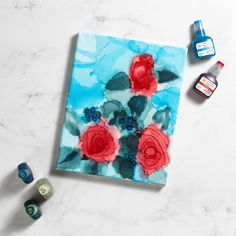 Create a floral masterpiece using Mod Podge Alcohol Inks! This beauty abstract rose is so easy and fun to create using the bright vivid hues of these versatile inks. Creative Crafts, Diy Crafts, Canvas Art Projects, Mixed Media Canvas, Creative Inspiration, Blowing Kisses, Diy Art, Red Roses, Make It Yourself