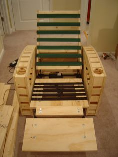 DIY home theater chairs- would definitely add cushions and fabric to this, but cool design