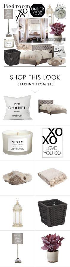 """Bedroom Under $500"" by kusja on Polyvore featuring interior, interiors, interior design, home, home decor, interior decorating, Chanel, NEOM Organics, xO Design and Bedroom Athletics"