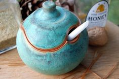 One+Sugar+Bowl+/+Honey+Jar+in+Turquoise+Made+to+por+pagepottery,+$28.00